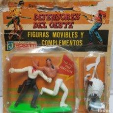 Figuras de Goma y PVC: JECSAN DEFENSORES DEL OESTE EN BLISTER ORIGINAL MUY ESCASO. Lote 156524744