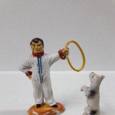 Figuras de Goma y PVC: ADIESTRADOR ENANO CON PERRO . REALIZADO POR JECSAN . SERIE CIRCO . AÑOS 50 EN GOMA. Lote 156863170