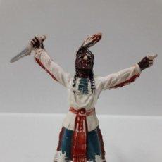 Figuras de Goma y PVC: JEFE INDIO . REALIZADO POR JECSAN . AÑOS 50 EN GOMA. Lote 156967306