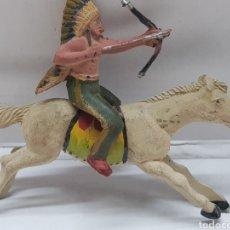Figuras de Goma y PVC: FIGURA INDIO A CABALLO GOMA REAMSA. Lote 157832437