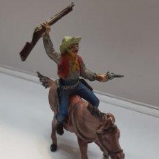 Figuras de Goma y PVC: FIGURA VAQUERO A CABALLO GOMA TEIXIDO. Lote 157839821