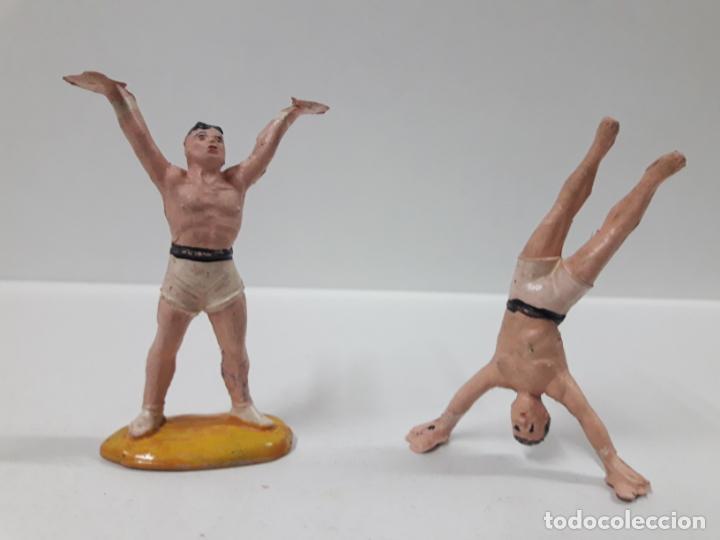 Figuras de Goma y PVC: PAREJA DE EQUILIBRISTAS . REALIZADO POR JECSAN . SERIE CIRCO . AÑOS 50 EN GOMA - Foto 3 - 157949654