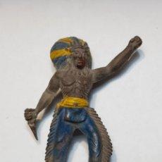 Figuras de Goma y PVC: FIGURA ANTIGUA JEFE INDIO DE SOTORRES. Lote 158540753