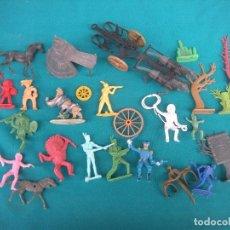 Figuras de Goma y PVC: INDIOS VAQUEROS CABALLOS. Lote 158624818