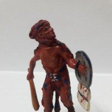 Figuras de Goma y PVC: GUERRERO INDIO . SERIE AZTECAS . REALIZADO POR PECH . AÑOS 50 EN GOMA. Lote 158952502