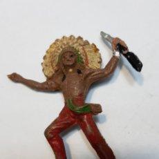 Figuras de Goma y PVC: FIGURA JEFE INDIO REAMSA CON FUSIL. Lote 159680096