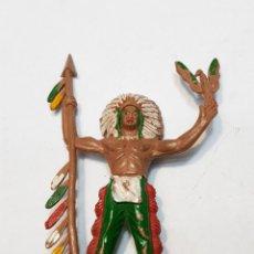 Figuras de Goma y PVC: FIGURA JEFE INDIO CON LANZA REAMSA. Lote 159681022