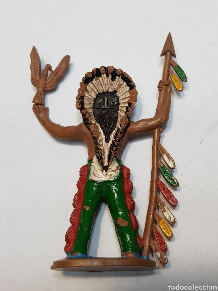 Figuras de Goma y PVC: Figura Jefe Indio con lanza Reamsa - Foto 2 - 159681022