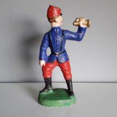 Figuras de Goma y PVC: CORNETA, SOLDADO FRANCÉS DE LA GRAN GUERRA, 10,5 CMS. EN PASTA/COMPOSICIÓN AÑOS 20, ESTILO ELASTOLIN. Lote 160173325
