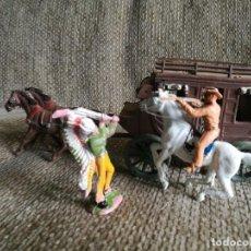 Figuras de Goma y PVC: DILIGENCIA WELLS FARGO. MADERA Y PLÁSTICO. VAQUERO A CABALLO E INDIO.. Lote 160348370