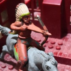 Figuras de Goma y PVC: 2 FIGURAS DE GOMA INDIO COMANCHE Y CABALLO REAMSA. Lote 160522738