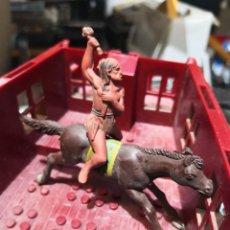 Figuras de Goma y PVC: 2 FIGURAS DE GOMA INDIO COMANCHE Y CABALLO REAMSA. Lote 160524654