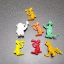 Figuras de Goma y PVC: LOTE 7 FIGURAS DUNKIN WARNER BROS LOONEY TUNES PORKY GATO SILVESTRE MONOCOLOR GALLO CLAUDIO. Lote 160574969