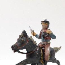 Figuras de Goma y PVC: VAQUERO BANDIDO - ATRACADOR A CABALLO . REALIZADO POR PECH . AÑOS 50 EN GOMA. Lote 161713670