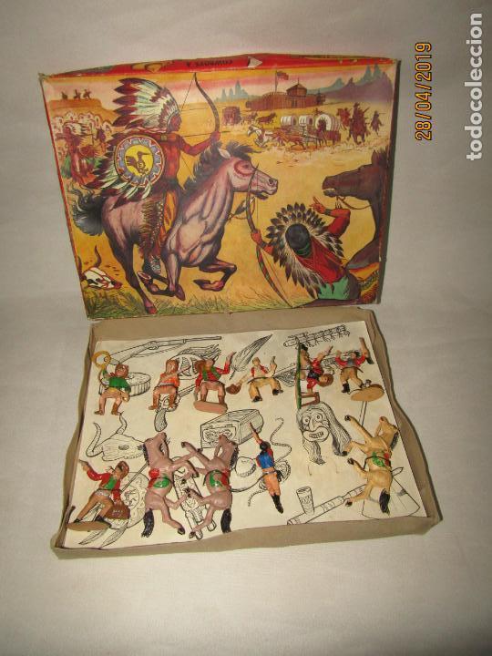 ANTIGUA CAJA COWBOYS A CABALLO Y A PIE DE COMANSI PRIMERÍSIMA SERIE EN PLÁSTICO PINTADO (Juguetes - Figuras de Goma y Pvc - Comansi y Novolinea)