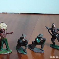 Figuras de Goma y PVC: INDIOS Y VAQUEROS DEL OESTE GOMA REAMSA AÑOS 50. Lote 162401218