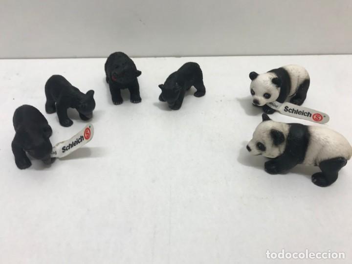 LOTE 4 OSOS NEGROS Y 2 PANDAS DE GOMA SCHLEICH (Juguetes - Figuras de Goma y Pvc - Schleich)