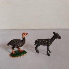 Figuras de Goma y PVC: FIGURAS PECH AVESTRUZ Y CERVATILLO GOMA. Lote 163447714