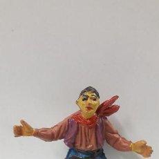 Figuras de Goma y PVC: VAQUERO - COWBOY CONDUCTOR DE CARRETA . REALIZADO POR JECSAN . AÑOS 50 EN GOMA . Lote 163776230