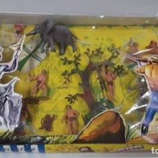Figuras de Goma y PVC: COLECCION SAFARI - TARZAN . REALIZADA POR PECH . CAJA ORIGINAL REF 301 . AÑOS 60. Lote 165100150