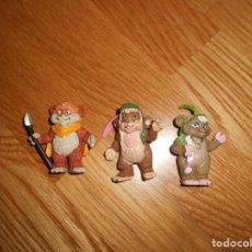Figuras de Goma y PVC: 3 FIGURAS PVC TEEBO KNEESA EWOKS STAR WARS COMICS SPAIN AÑOS 80. Lote 166139774