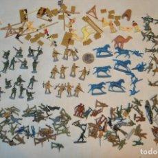 Figuras de Goma y PVC: LOTE MONTÓN FIGURAS / MILITARES - SOLDADOS Y OTROS SIN IDENTIFICAR MARCA - ESCALA H0 / 00 - AÑOS 60. Lote 166419785