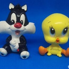 Figuras de Goma y PVC: FIGURAS PVC PIOLÍN Y SILVESTRE GRANDES CABEZONAS WARNER. Lote 166928909