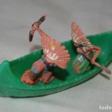 Figuras de Goma y PVC: CANOA, CON 2 INDIOS OESTE AMERICANO - DE PECH - AÑOS 50/60 ¡MIRA FOTOGRAFÍAS Y DETALLES!. Lote 167685896