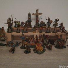 Figuras de Goma y PVC: ELASTOLIN INDIOS Y VAQUEROS. Lote 167753136