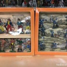 Figuras de Goma y PVC: CAJAS OLIVER PECH VAQUERO COWBOYS INDIOS YANKEE FEDERAL YANQUI RITINTIN CABO RUSTY . Lote 167765128