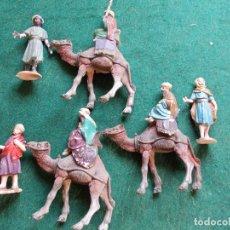 Figuras de Goma y PVC: FIGURAS ANTIGUAS REYES MAGOS Y ACOMPAÑANTES. Lote 168021296