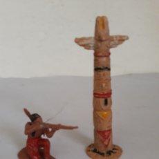 Figuras de Goma y PVC: FIGURAS TOTEM INDIO Y FIGURA INDIO PLASTICO. Lote 168197496