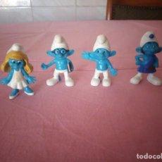 Figuras de Goma y PVC: LOTE DE 4 FIGURAS DE 3 PITUFOS Y PITUFINA PARA PONER EN EL LÁPIZ PLÁSTICO PEYO 2011. Lote 168306108