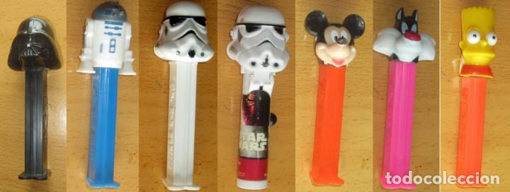 Dispensador Pez: PEZ 7 DISPENSADORES, DARTH VADER, R2-D2, 2 SOLDADOS MIKEY, SILVESTRE,BART SIMPSON - Foto 1 - 168340052