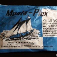 Figuras de Goma y PVC: VELERO, SOBRE *PEQUEÑO* MONTAPLEX MONTA-PLEX, NUNCA ABIERTO, AÑOS 60.. Lote 168396408