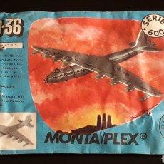 Figuras de Goma y PVC: AVIÓN B-36 REF. 615, SOBRE *MEDIANO* MONTAPLEX MONTA-PLEX SERIE 600, NUNCA ABIERTO, AÑOS 60.. Lote 168398088