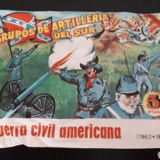 Figuras de Goma y PVC: GRUPOS DE ARTILLERÍA DEL SUR, SOBRE MONTAPLEX MONTA-PLEX, GUERRA CIVIL AMERICANA, AÑOS 60-70.. Lote 168403156