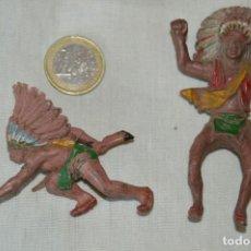 Figuras de Goma y PVC: DE GOMA - GUERRERO INDIO REALIZADO POR PECH Y OTRO SIN DATOS - AÑOS 50/60 ¡MIRA FOTOS/DETALLES!. Lote 168440188