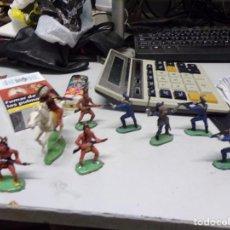 Figuras de Goma y PVC: LOTE JECSAN REAMSA COMANSI INDIO CABALLO SOLDADO 9 FIGURAS TOTAL BUEN ESTADO. Lote 168493380