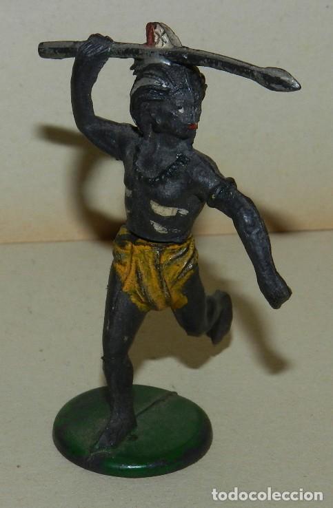 Figuras de Goma y PVC: GAMA, GUERRERO NEGRO, EN GOMA DOS PIEZAS, SAFARI, LANZA, AÑOS 50, SERIE 6 CMS. - Foto 3 - 168505020