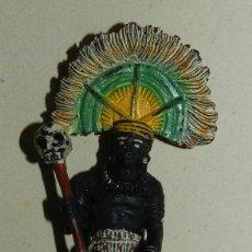 Figuras de Goma y PVC: PECH, FIGURA DE JEFE DE TRIBU NEGRO, GOMA, TAL COMO SE VE EN LAS FOTOGRAFIAS PUESTAS. MUY RARO.. Lote 168507024