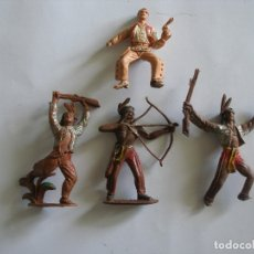 Figure di Gomma e PVC: INDIOS Y VAQUERO PLÁSTICO PINTADO A MANO COMANSI AÑOS 60. Lote 139826194