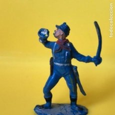 Figuras de Goma y PVC: FIGURA DE GOMA, PRIMER SEPTIMO ESPAÑOL, SOLDADO 7º, YANKEE PECH 1956, CON ROTURA. Lote 168417292