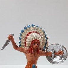 Figuras de Goma y PVC: JEFE INDIO . REALIZADO POR JECSAN . AÑOS 60 / 70. Lote 169143036
