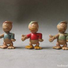 Figuras de Goma y PVC: 3 FIGURAS DE GOMA DE LOS SOBRINOS DEL PATO DONALD - PECH HERMANOS - AÑOS 50. Lote 169194224