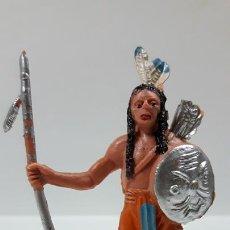 Figuras de Goma y PVC: GUERRERO INDIO CON LANZA . REALIZADO POR JECSAN . AÑOS 60 / 70. Lote 169366072