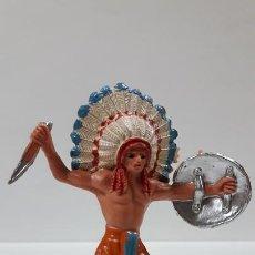 Figuras de Goma y PVC: JEFE INDIO . REALIZADO POR JECSAN . AÑOS 60 / 70. Lote 169576540