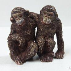 Figuras de Goma y PVC: PAREJA DE MONOS . REALIZADOS POR PECH . AÑOS 50 EN GOMA. Lote 169618276