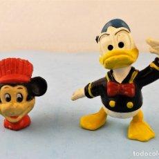 Figuras de Goma y PVC: PATO DONALD Y CABEZA DE MICKEY MOUSE. Lote 169646568