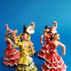 Figuras de Goma y PVC: UNA JOYA LOTE DE CINCO BAILAORAS GOMA AÑOS 50 ¿ JECSAN, TEIXIDO ?. Lote 169692304